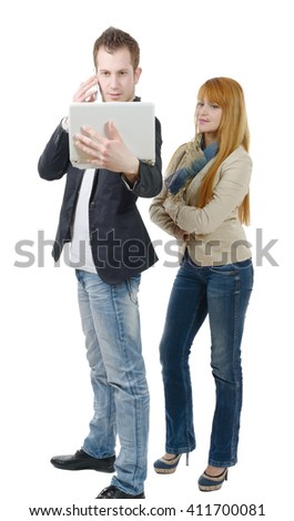 two young business people working together with a laptop and phone, on white