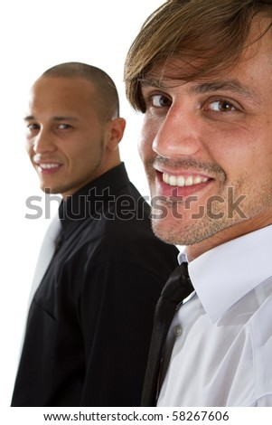 Two young businessman - one asian and one caucasian isolated over white background. - stock photo