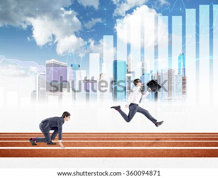 Two young businessmen competing on the track. One in crouch start, the other running forward with a black folder. New York, blue sky and graphs at the background. Concept of competition. - stock photo