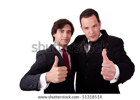 two young businessmen giving consent, with thumb up, isolated on white background - stock photo