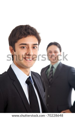 Two young businessmen isolated on white - stock photo