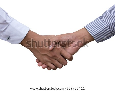 two young businessmen shaking hands, successful business people handshaking closing a deal with white background - stock photo