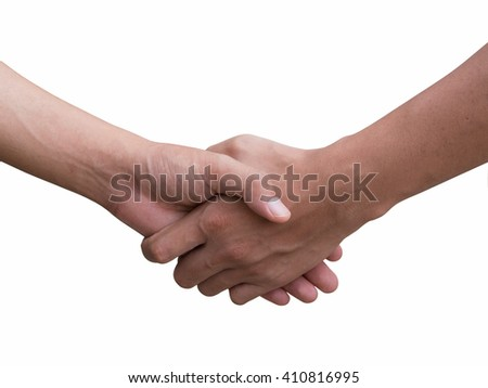 two young businessmen shaking hands with left hand, two boy scouts shalking left hand. isolated on white background