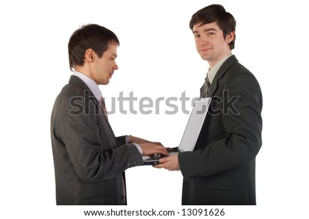 Two young businessmen working isolated on white