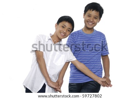 two young casual boys portrait, isolated - stock photo