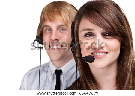 Two young customer service or sales people