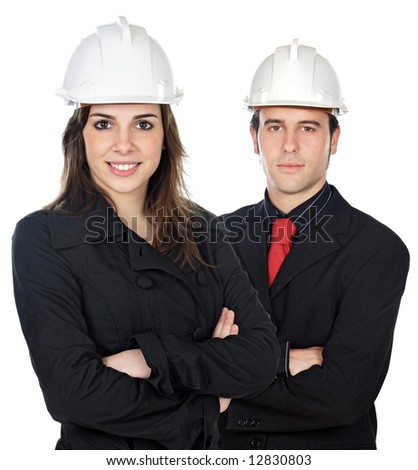Two young engineers a over white background