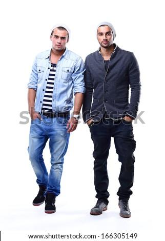 Two young fashion man - stock photo