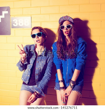 Two young girlfriends in sunglasses having fun. Lifestyle - stock photo