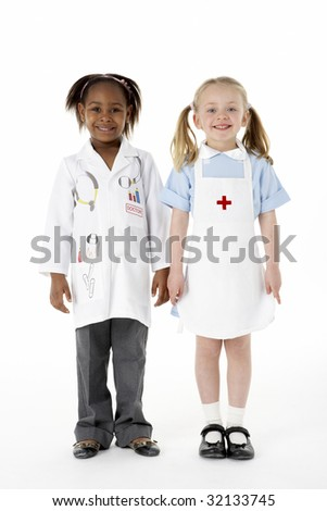Two Young Girls Dressed As Medical Staff