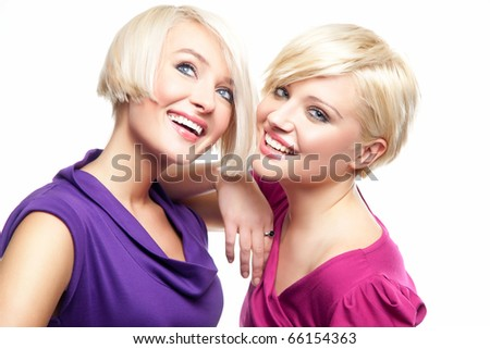 Two young girls fiends - stock photo