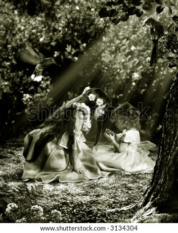 Two young girls have found in garden nestling. They want him to help.  The photography is made in studio. After processing in editor. All detail on photo take from the personal archive - stock photo