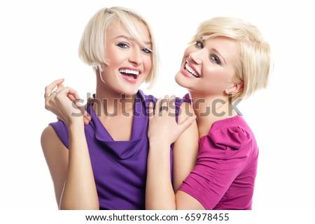 Two young girls having fun - stock photo