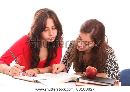 Two young girls student ove white background