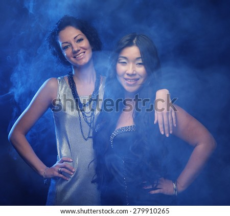 two young good friends having fun together - stock photo
