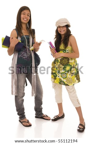 Two young happy students isolated on white - stock photo