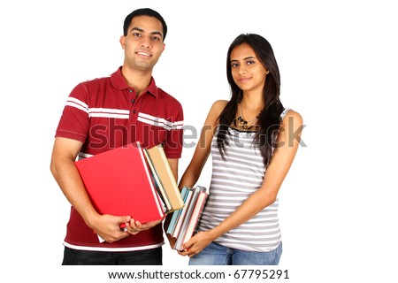Two young Indian students isolated on white. - stock photo