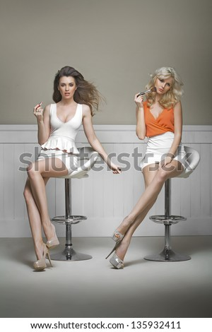 Two young ladies - stock photo