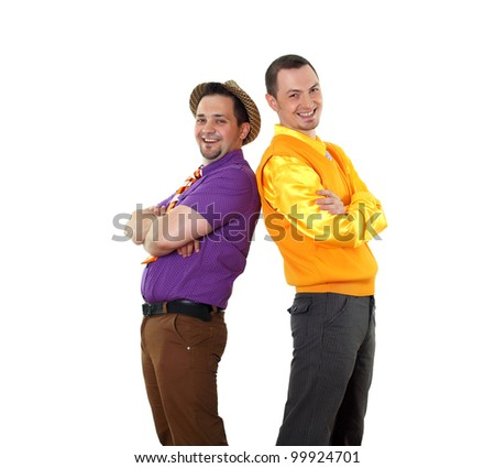 two young man in bright colour wear in retro style - stock photo