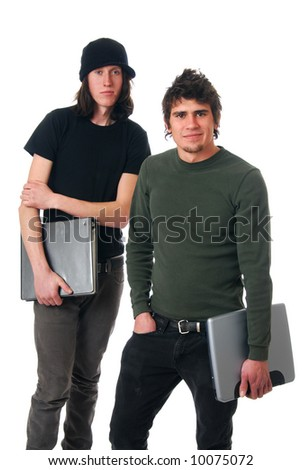 Two young men after class holding a notebook and a computer