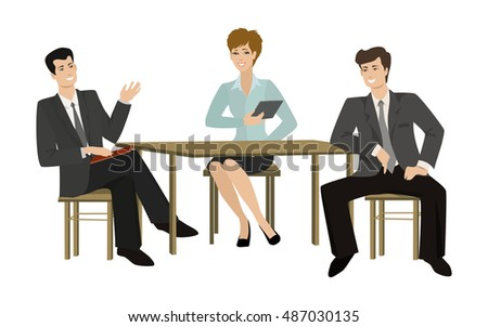 Two young men and woman-talking businessman at the table,  illustration on a flat style