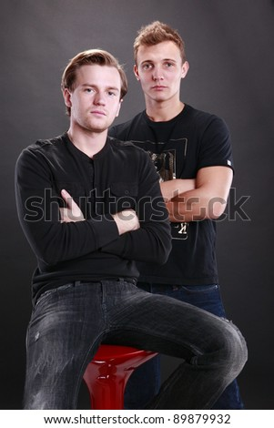Two young men portrait