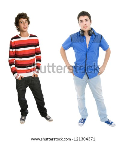 two young men standing, on a white background - stock photo
