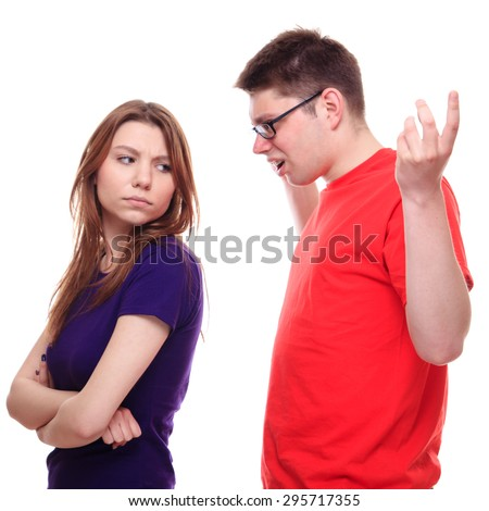 Two young people arguing