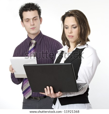 Two young people at work