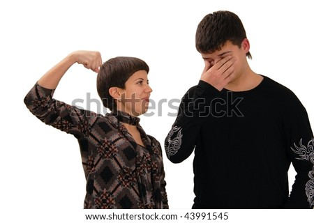 Two young people wrestle. Isolated on white. Brother and sister. - stock photo