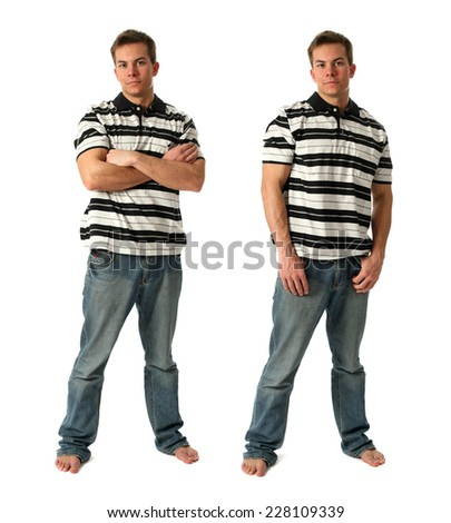 Two young sexy men wearing casual clothes isolated on white - stock photo