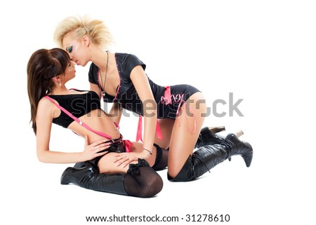 two young show dance girls posing over white - stock photo