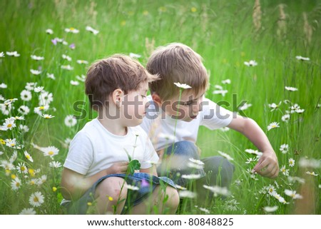 Two young siblings looking at wild flowers in field.