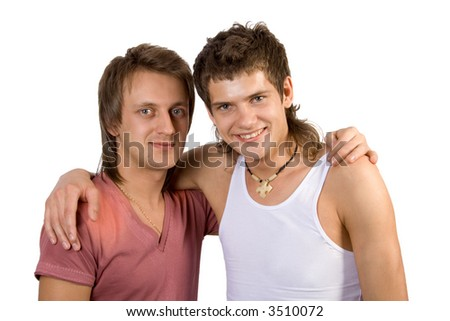 Two young smiling man's. Isolate on white background.