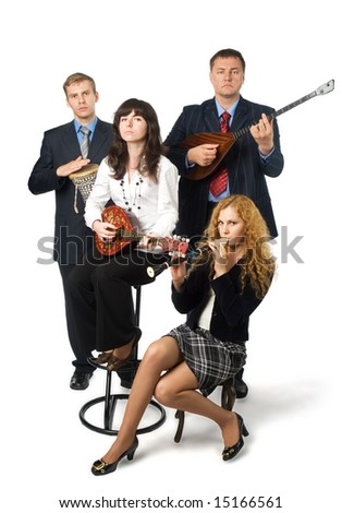 Two young women and two men in business suits with musical instruments. Isolated on white background
