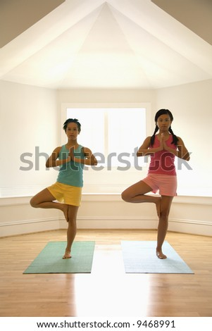 Two young women balancing doing yoga tree pose. - stock photo