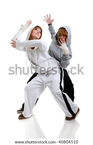 two young women dancing modern dance