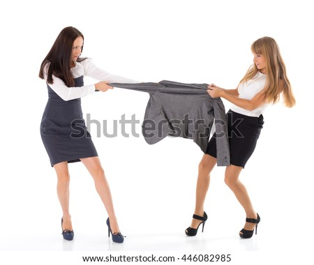 Two young women fighting for jacket on a white background. Sale.