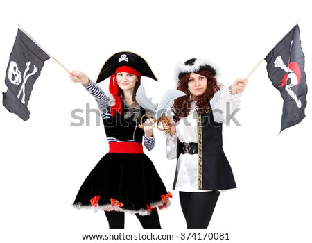Two young women in pirate costumes isolated - stock photo