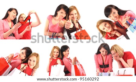 Two young women shopping, collage - stock photo