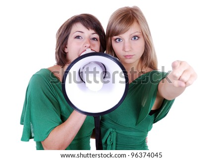 two young women with megaphone