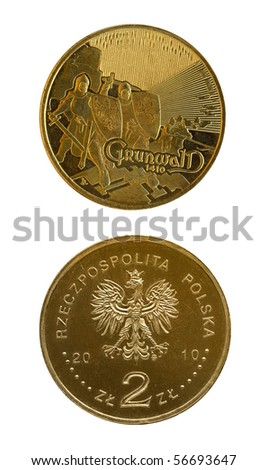 Two zloties coin made for six hundred years Grunwald battle anniversary. Isolated on white. - stock photo