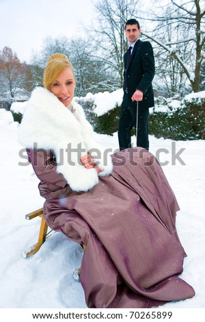 twosome in winter - stock photo