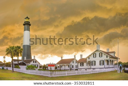Tybee Island Light  (Savannah - US), is a lighthouse next to the Savannah River. It is one of the few remaining colonial era lighthouse towers. - stock photo