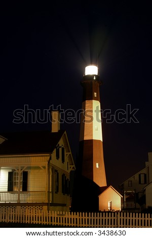 Tybee Island Light Station Savannah Georgia Vertical at Night - stock photo