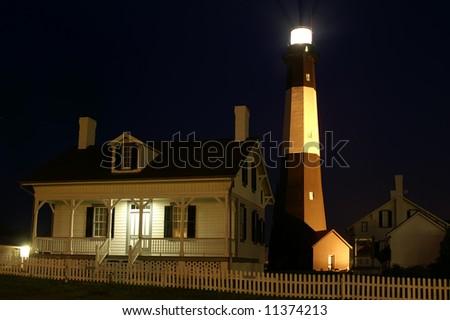 Tybee Island Lighthouse Near Savannah Georgia at Night Horizontal - stock photo