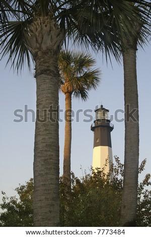 Tybee Island Lighthouse Station Near Savannah, Georgia at Sunrise Vertical - stock photo