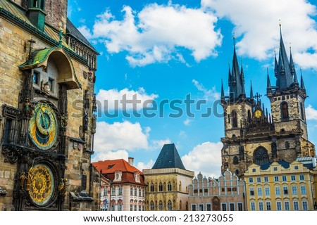 Tyn cathedral church and famous Astronomical Clock, Prague, Czech Republic  - stock photo