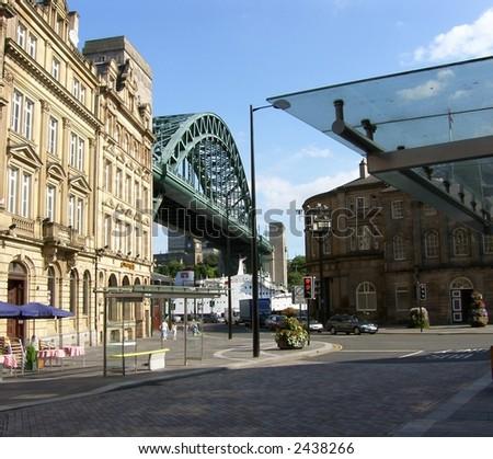 Tyne Bridge and Quayside in Newcastle  upon Tyne England - stock photo
