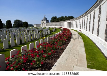 Tyne Cot Cemetery in Ypres, Belgium.  Tyne Cot Commonwealth War Graves Cemetery and Memorial to the Missing is a Commonwealth War Graves burial ground for the dead of the First World War in the Ypres. - stock photo